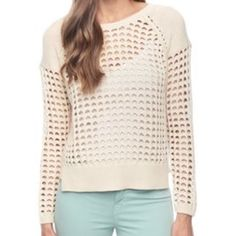 """Ella Moss sandy cross stitch sweater This beautiful knit sweater is a light beige (""""natural"""") and has a round neckline. Wear a camisole under it, a chunky necklace, colored skinny jeans, and flats for a great fall outfit. This was gently worn. Only defects are that the tag is slightly discolored, there is super slight wear under the armpits as shown (slight fuzz), and there is a small, easily repaired pull on the back as shown. Currently sells for $99 on ellamoss.com as of 2-3-16. (style no…"""