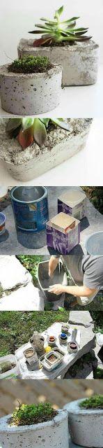 Macetas de hormigón Idea: create setting of planters with plants Diy Concrete Planters, Concrete Crafts, Concrete Projects, Diy Planters, Cement Pots, Large Planters, Ideas Paso A Paso, Papercrete, Pot Plante