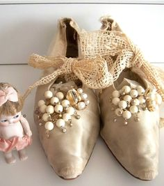 Victorian Edwardian Antique Wedding Silk Shoes by KarmaRox on Etsy