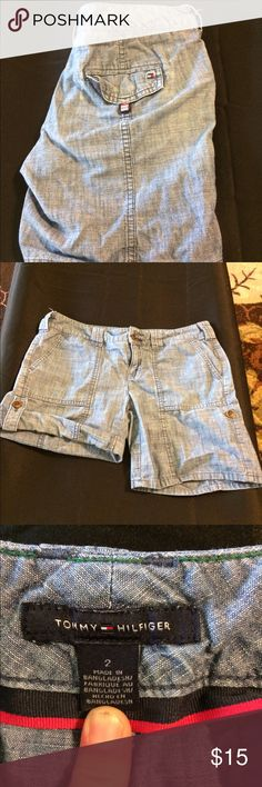 Tommy Hilfiger Roll Leg Blue Shorts Button Leg 2 Cute pair of blue jean shorts by Tommy Hilfiger.  Size 2. Legs roll up and button on the sides to make them shorter. Excellent condition. Ask any questions Tommy Hilfiger Shorts