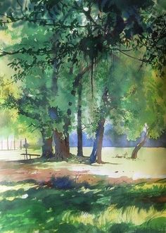 Watercolor trees by Bijay Biswaal