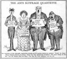 "This is a comic from a newspaper about the anti suffrage quarentette. This comic displays mostly old men holding up signs that say ""women don't want the vote"" as a way to protest women's suffrage at the White House."