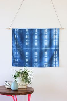 Our love for indigo and shibori continue with this simple no-sew wall hanging DIY project!