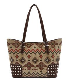 Look what I found on #zulily! Brown Tribal Tote #zulilyfinds $18.99