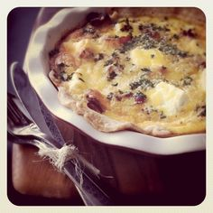 Cream Cheese, Caramelized Onion and Bacon Quiche (without the crust)