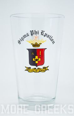 Sigma Phi Epsilon SigEp Fraternity Crest Pint Glass by moregreeks