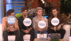 """One Direction playing """"Never Have I Ever"""" on The Ellen Show - Taped: 11/17/15. Aired: 11/18/15."""