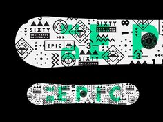 Epicurrence Snowboard - Be Epic.  With all projects I like to show for inspiration the designs that didn't quite make the cut. Here was one of the board designs which unfortunately didn't pass the go zone.  My other snowboard design for the upcoming @epicurrence //The Montues event in March.  Can't wait to see it in action!  #type #design #snowboard #snowboarding #graphicdesign #layout #shapes #dribbble #behance #madebystudiojq #logo #logodesigner #logodesigns #logomark #adventure #outdoors…