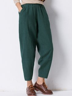 214662b968a83 Pure Color Pocket Elastic Waist Vintage Pants For Women is necessary for  cold weather