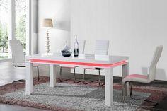 Table de salle à manger design FONTENOY, coloris blanc laqué avec éclairage intégré