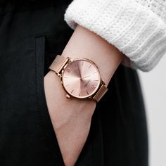 Our women's eros mesh watch features a stainless steel mesh band and a stainless steel casing with mineral crystal glass and water resistance. Gold Watches Women, Trendy Watches, Rose Gold Watches, Popular Watches, Women's Watches, Simple Watches, Elegant Watches, Sport Watches, Mesh Band