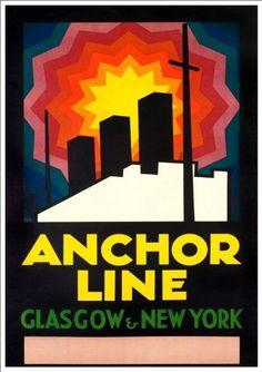 'Anchor Line - Glasgow-New York' - Wonderful A4 Glossy Print Taken From A Vintage Travel Poster by Design Artist http://www.amazon.co.uk/dp/B00J2LGCVY/ref=cm_sw_r_pi_dp_u6Xnvb19T9EMV