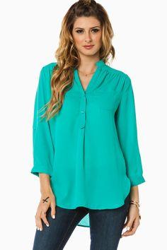 Pure Colora Blouse in Jade / ShopSosie #jade #classic #mandarin #collar #blouse #shopsosie