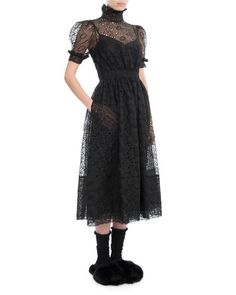Shop Puff-Sleeve High-Neck Lace Midi Dress, Black from Simone Rocha at Neiman Marcus Last Call, where you'll save as much as on designer fashions. Black Lace Midi Dress, Luxury Fashion, Womens Fashion, Scalloped Hem, Floral Lace, Dress Outfits, Fashion Accessories, Silk, Clothes For Women