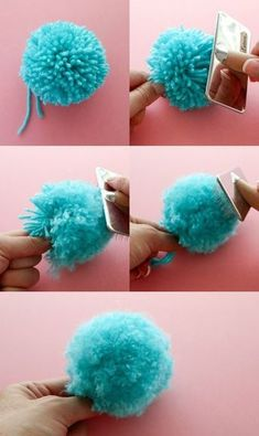 How to make a fluffy pom pom – pom pom DIY – pom hacks – pom tricks – pom poms - Top Diy ProjectsThe Secret to making Super Fluffy Pom Poms - use a cat grooming brush.Everybody loves a good pom pom, they have so many great crafty uses. The Secret Kids Crafts, Yarn Crafts, Crafts To Sell, Easter Crafts, Diy And Crafts, Christmas Crafts, Sell Diy, Kids Diy, Decor Crafts