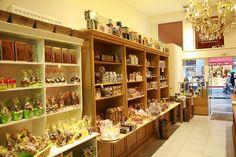 candy shop counter and shelves