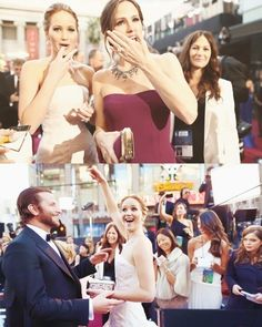 Candid shots of three of my fav celebrities.  Jennifer Garner, Jennifer Lawrence, and Bradley Cooper.  Oscars 2013.