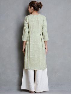 Olive Box Pleated Khadi Cotton Kurta Salwar Designs, Kurta Designs Women, Blouse Designs, Muslim Women Fashion, Indian Fashion, Girls Fashion Clothes, Clothes For Women, Fashion Dresses, Khadi Kurta