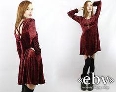 Vintage 90s Merlot Crushed Velvet Mini Dress M L 90s by shopEBV, $48.00