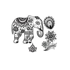 Indian elephant temporary tattoo set by stayathomegypsyshop, $7.50