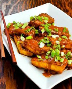 Spicy Peanut Butter Tofu with Sriracha