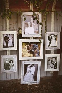decor with photos of parents' and grandparents' weddings