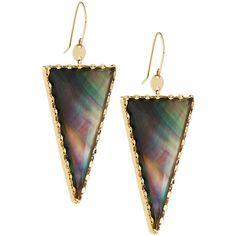 Lana 14k Mystiq Dagger Doublet Drop Earrings ($784) ❤ liked on Polyvore featuring jewelry, earrings, multi, chain link earrings, triangle earrings, triangle drop earrings, 14 karat gold earrings and disc drop earrings