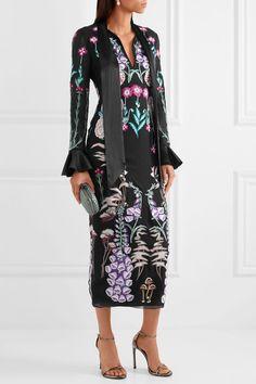 Temperley London - Woodland Satin-trimmed Embroidered Silk-chiffon Midi Dress - Black