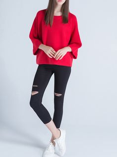 #StyleWe Shop Sikya Sweaters - Red Crew Neck Casual Plain Wool Blend Sweater online. Discover unique designers fashion at AdoreWe.net.