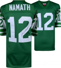 Joe Namath New York Jets Autographed Green Mitchell   Ness Replica Jersey 953f8dd62