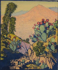 The Desert Invites, 1933 by Frances Hammell Gearhart (b. 1869-1958), Californian artist (occasionally taught by Charles H. Woodbury) known for her colour woodcuts of the Sierras, the Pacific Coast, and the area around Big Bear Lake. She described sentinel trees, groves of eucalyptus, pines, oaks and Monterey cypress as well as valleys and canyons. http://www.francesgearhart.com/ Tags: Helen Elstone, Mountain, Canyon, Cactus, Cacti