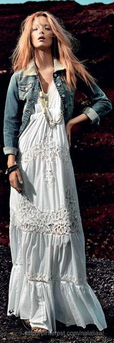 Boho White Maxi Dress & Short Denim Jacket | Bohemian Style | Boho-Chic Look #proshopaholic