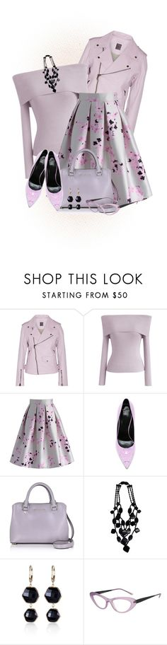 """""""In Love with Lilac"""" by loveroses123 ❤ liked on Polyvore featuring Lot78, Chicwish, Versace, Michael Kors, Monies, Belk & Co. and Italia Independent"""