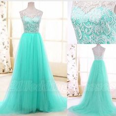 Mint Cap Sleeves Lace Long Prom Dresses,Beautiful Handmade Prom Gowns,Simple Cheap Elegant Prom Dress http://21weddingdresses.storenvy.com/collections/919470-prom-dresses/products/13199304-2016-top-selling-long-charming-elegant-white-ace-mint-tulle-prom-dresses-for