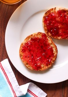 Currant Jam on English Muffins