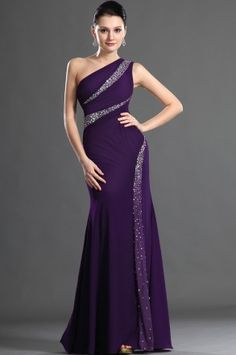 Purple One Shoulder Floor Length Chiffon Sheath Column Military Ball Dress With Beading Oet0208