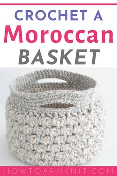 Learn how to make this awesome Moroccan basket with this free crochet pattern. Crochet Geek, Learn To Crochet, Hand Crochet, Free Crochet, Crochet Patterns For Beginners, Easy Crochet Patterns, Tutorial Crochet, Bag Patterns, Crochet Basket Pattern