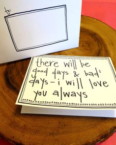 "Good Days & Bad Days - cute handmade Mother's Day Father's Day Wedding Civil Union love romantic card and envelope - size 4.5""x5.5"" on Etsy, $4.50"