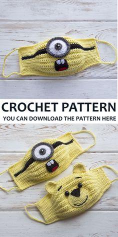 Slip Stitch Crochet, Tunisian Crochet, Irish Crochet, Easy Amigurumi Pattern, Handmade Ideas, Handmade Gifts, Animal Face Mask, How To Make Decorations, Jute Crafts