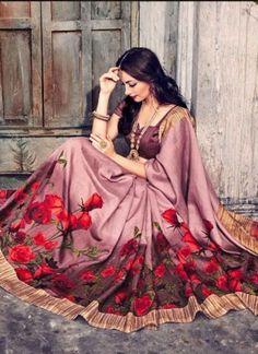 Amazing Bhagalpuri Silk Wine Casual Party Wear Sarees http://www.angelnx.com/Sarees/Party-Wear-Sarees
