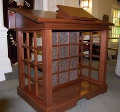 Custom Made Lectern With Storage And Step Stools