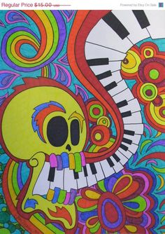 HOLIDAY SALE Sugar Skull Piano Keys Sharpie 9x12 by ToniTiger415