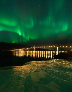 Aurora on Tjeldsund Bridge, Hinnøya in Troms, Norway