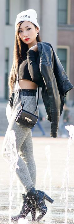 Crop top + Sweat pants + Leather Jacket meet the items at www.TOSKACLOTHING.COM!
