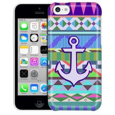 Apple iPhone 5C Anchor on Aztec Pink Blue Turquoise Case