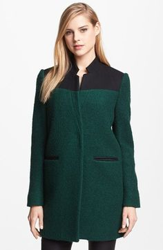 Kenneth Cole New York Contrast Yoke Bouclé Coat available at #Nordstrom