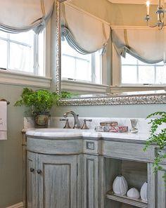 Powder Room. Traditional Powder Room. Traditional Powder Room with custom vanity, marble counter top and seafoam grasscloth wallpaper. #PowderRoom Anita Clark Design.