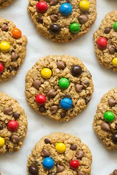 Healthy No Flour Monster Cookies Recipe- soft, chewy and made with 4 ingredients- the BEST flourless cookies made without eggs and dairy- Vegan and Gluten Free! Monster Cookie Recipe No Flour, Soft Cookie Recipe, Cookie Recipes, Dessert Recipes, Vegan Recipes, Cookie Monster, Dessert Ideas, Yummy Recipes, Free Recipes