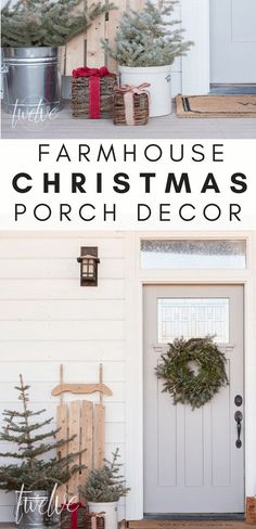 Check out this farmhouse Christmas porch  and get some inspiration for your own home and decorate for the holidays! Check out the rustic grapevine gifts, real Christmas trees, and simple farmhouse Christmas decor. #christmasdecor #farmhouse #farmhousechristmas #christmasporchdecor