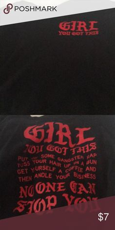 separation shoes 05ede 84def Girl you got this long sleeve crop top Extra large black long sleeve crop  top Has writing in red No stains rips From rue 21 Tops Crop Tops